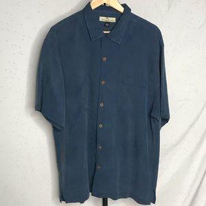 Tommy Bahama Blue Silk Button Up Collard Shirt